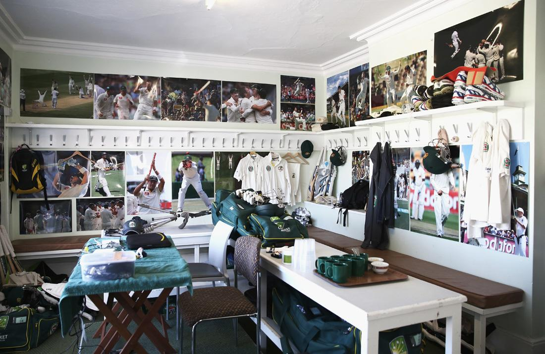 NOTTINGHAM, ENGLAND - JULY 09:  A general view inside the Australian Cricket Team Dressing Room at Trent Bridge on July 9, 2013 in Nottingham, England.  (Photo by Ryan Pierse/Getty Images)