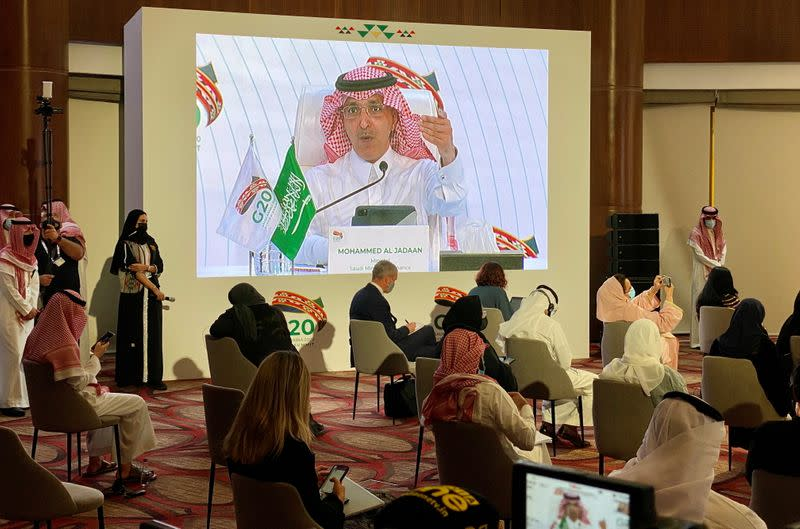 Saudi Arabia's Minister of Finance, Mohammed al-Jadaan speaks during virtual news conference aired live at the media centre of the 15th annual G20 Leaders' Summit in Riyadh