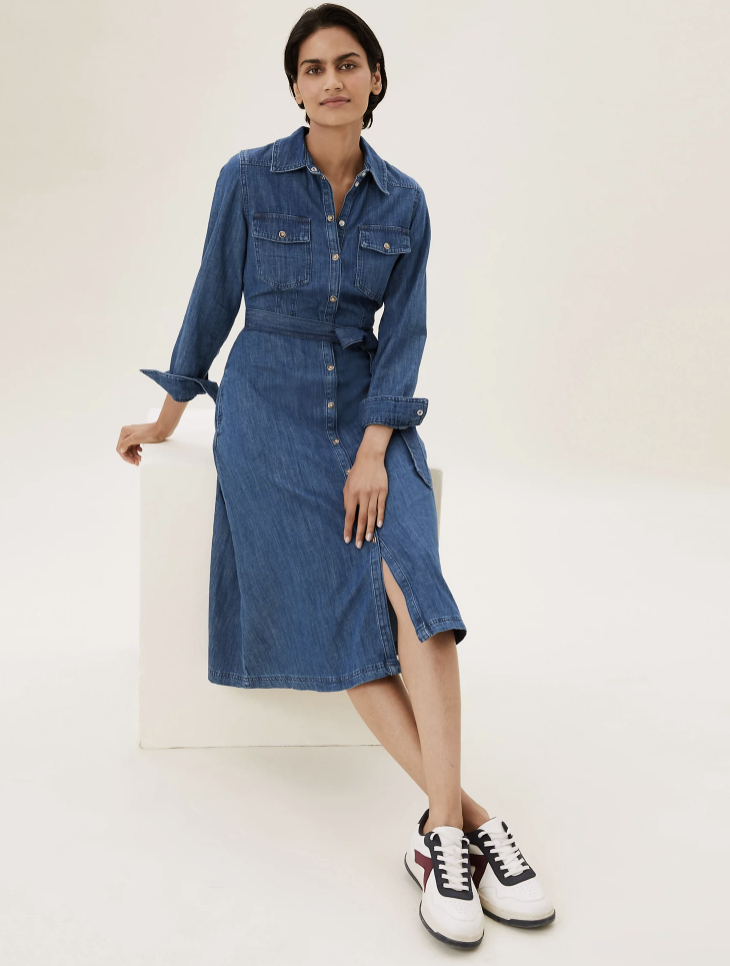 The autumn-ready dress can be dressed up or down with boots or trainers. (Marks & Spencer)