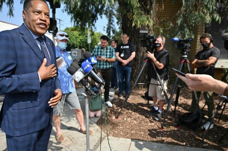 Conservative talk show host Larry Elder is leading the pack of Republican challengers, though he is still polling under 20 percent (AFP/Robyn Beck)