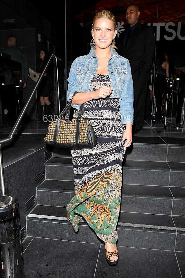 "Jessica Simpson's safari-inspired sundress and cheetah print heels are far from ferocious. That cropped denim jacket isn't doing her any justice either! Hellmuth Dominguez/<a href=""http://www.pacificcoastnews.com/"" target=""new"">PacificCoastNews.com</a> - April 30, 2009"