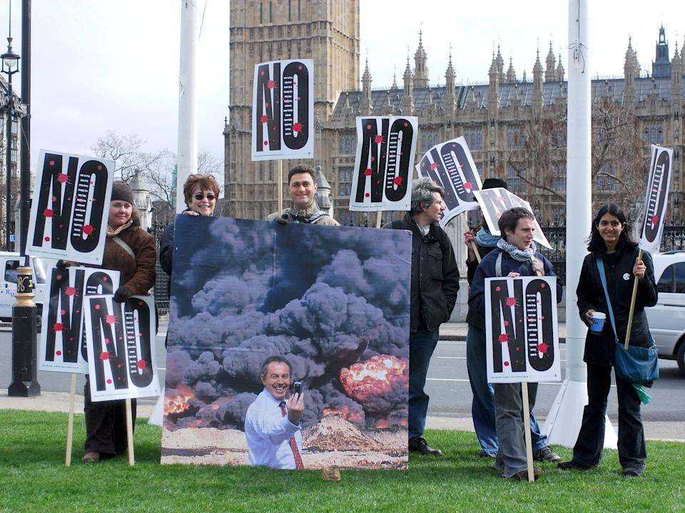 Stop the War Coalition demonstrators protest in Parliament Square in 2007Rex Features