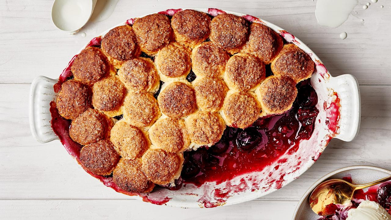 "Why choose between shortcakes and cobbler when you can have one dessert that combines the best of both? The lemony cherry filling is topped with shortcake-inspired cream biscuits (so tender, so light!) that soak up all of those fruit juices without getting soggy. <a href=""https://www.bonappetit.com/recipe/cherry-biscuit-cobbler?mbid=synd_yahoo_rss"">See recipe.</a>"