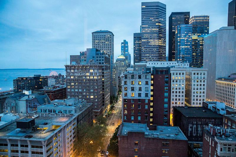A view of downtown Seattle from Smith Tower, on May 12, 2017 in Seattle, Washington.