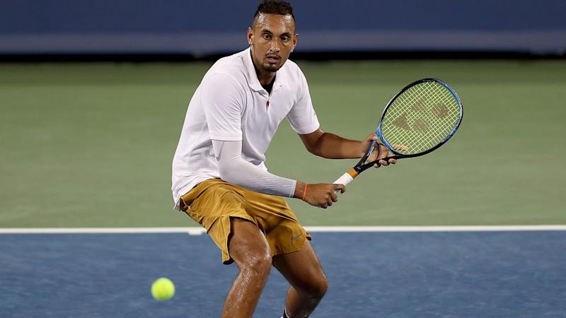 Nick Kyrgios in action at the Cincinnati Masters against Karen Khachanov. (Photo by Matthew Stockman/Getty Images)