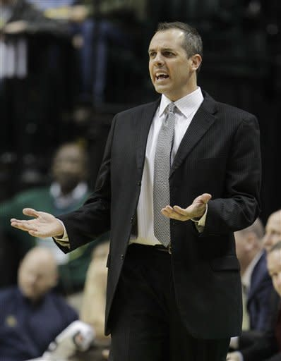 Indiana Pacers' Frank Vogel argues a call during the second half of an NBA basketball game against the Detroit Pistons Monday, Dec. 26, 2011, in Indianapolis. Indiana won 91-79. (AP Photo/Darron Cummings)