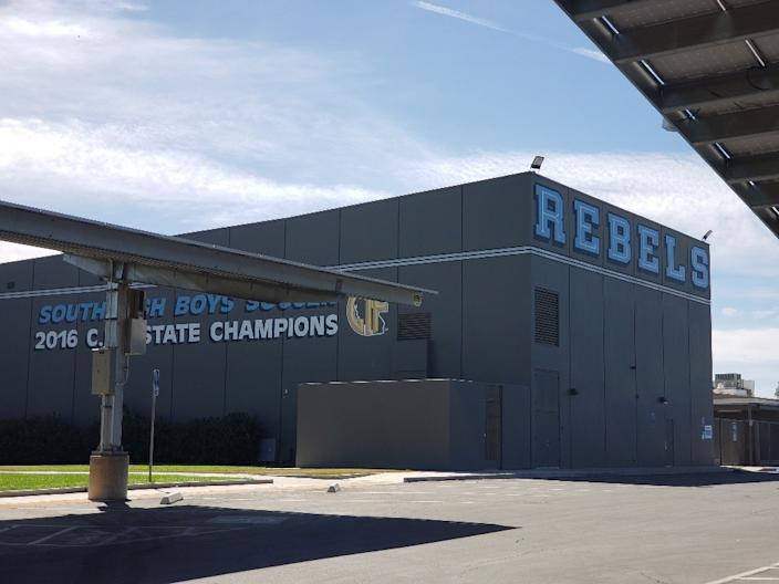 """The motto of Bakersfield's 1957 South High School is """"Home of the Rebels."""" <span class=""""copyright"""">(Christopher Knight / Los Angeles Times)</span>"""