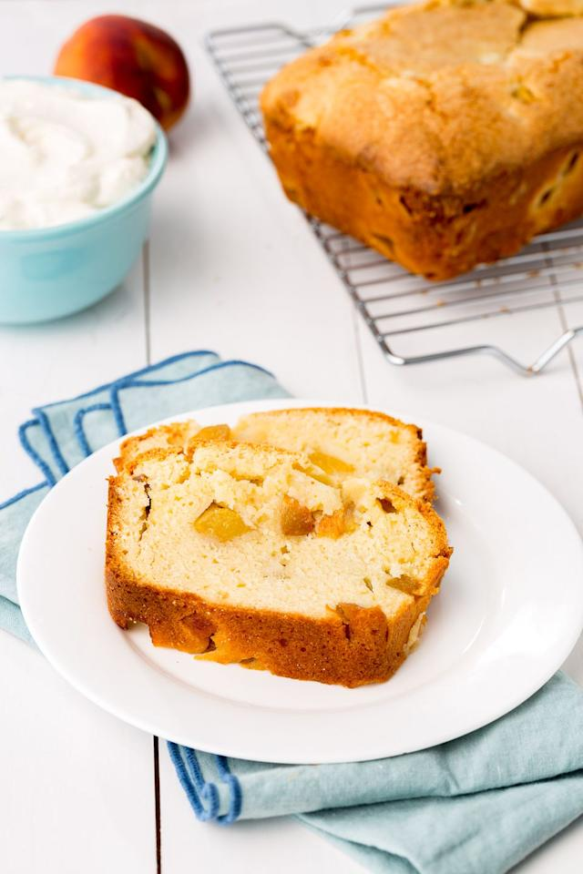 """<p>This must be what that 112 song was written about, right?</p><p>Get the recipe from <a href=""""/cooking/recipe-ideas/recipes/a46949/peaches-cream-pound-cake-recipe/"""" target=""""_blank"""">Delish</a>.</p><section></section>"""