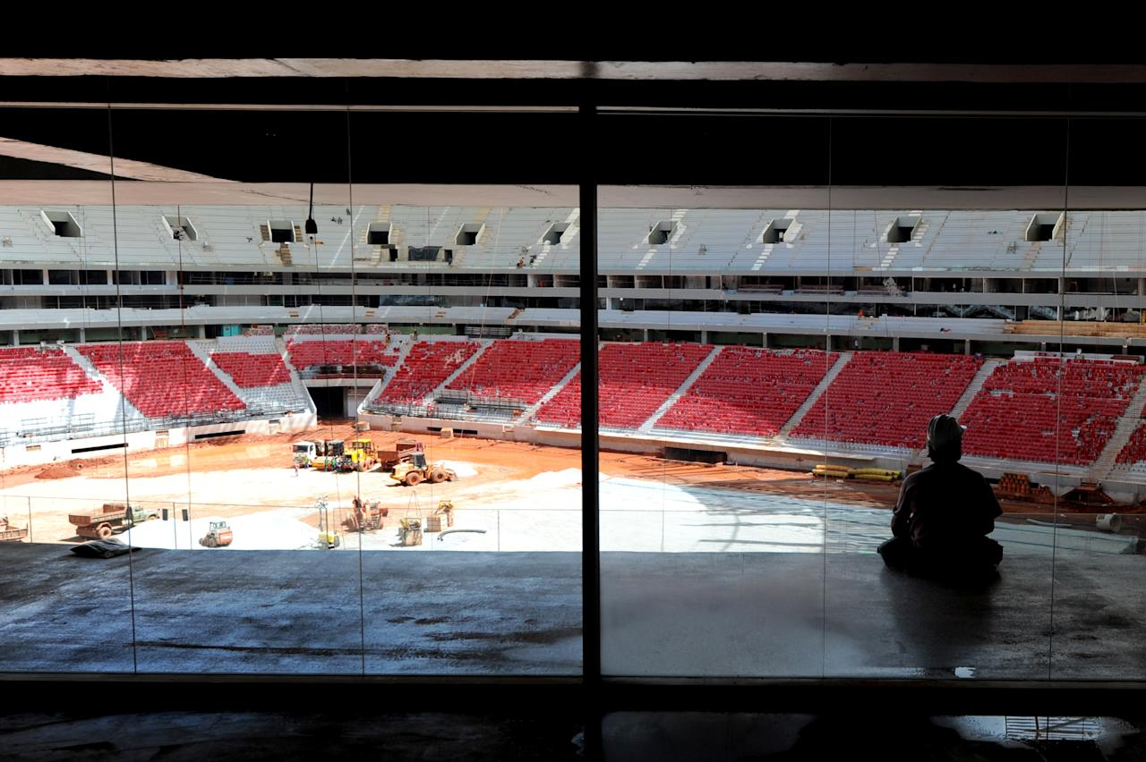 Overview of the works at Brasilia's National Stadium on April 8, 2013. The National Stadium, that will be inaugurated on April 21 when the city makes 53 years, will be used in the FIFA Confederation Cup 2013 and FIFA World Cup 2014. AFP PHOTO / Evaristo SAEVARISTO SA/AFP/Getty Images