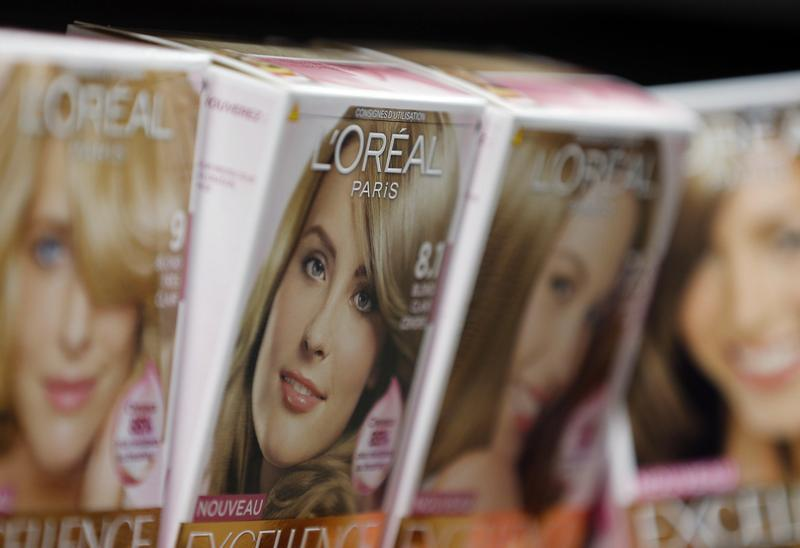 L'Oreal cosmetics group products are displayed in an supermarket in Lanton