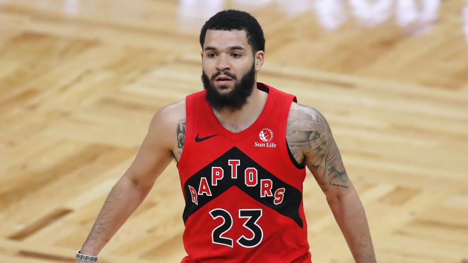 Toronto Raptors' Fred VanVleet plays against the Boston Celtics during the second half of an NBA basketball game, Thursday, Feb. 11, 2021, in Boston. (AP Photo/Michael Dwyer)