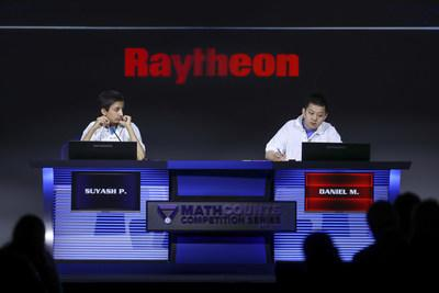 2019 Raytheon MATHCOUNTS National Competition winner Daniel Mai, right, and runner-up Suyash Pandit competing in the Countdown Round on Monday, May 13, 2019, in Orlando, Fla. (Photo Credit: Damian Strohmeyer)