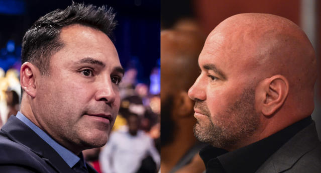 Dana White (R) had some harsh words for Oscar De La Hoya after the Golden Boy founder threw him and the UFC under the bus for allegedly underpaying fighters. (Getty Images)