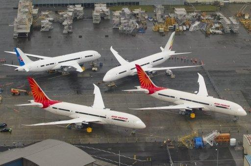 In-production Boeing 787 Dreamliner aircraft are seen on the tarmac at the Boeing production facilities at Paine Field