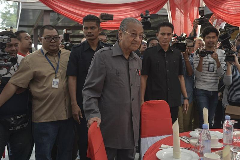 Pakatan Harapan chairman Dr Mahathir Mohamad is pictured while campaigning in Pekan Nanas, Pontian November 14, 2019. — Picture by Shafwan Zaidon