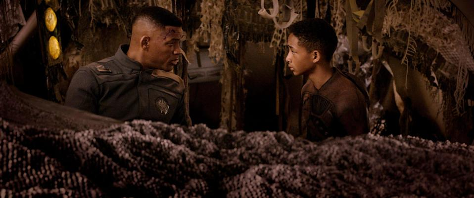 """Will Smith (left) and Jaden Smith play a father and son trying to stay alive in """"After Earth."""""""