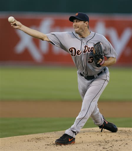 Detroit Tigers' Max Scherzer throws against the Oakland Athletics in the first inning of a baseball game on Friday, April 12, 2013, in Oakland, Calif. (AP Photo/Ben Margot)