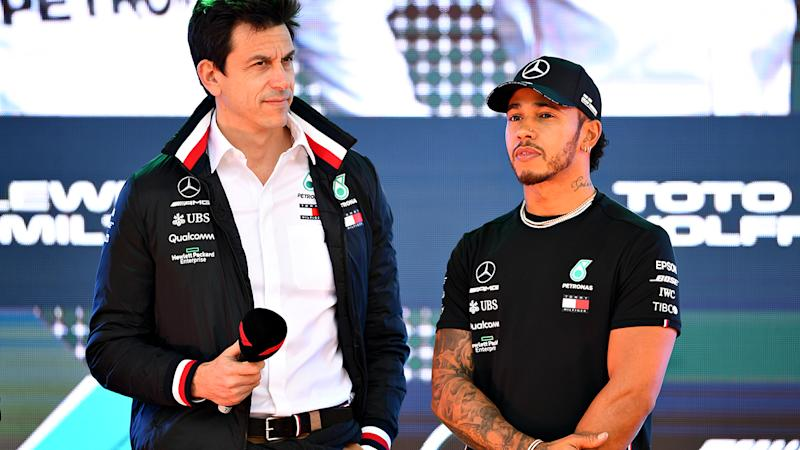 Toto Wolff and Lewis Hamilton, pictured here at the Australian Grand Prix.