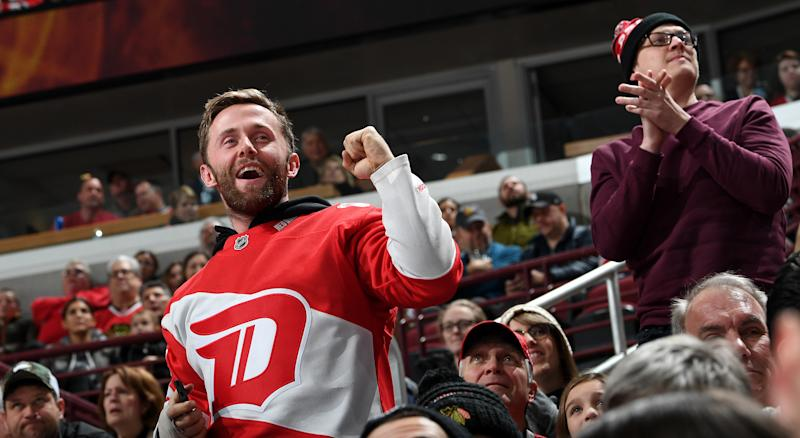Many of those in attendance at Little Caesars Arena stepped up after technology crapped out ahead of Detroit's clash with the Montreal Canadiens. (Photo by Bill Smith/NHLI via Getty Images)