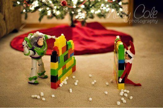 "<p>Set up some Lego forts and arm your elf with mini marshmallows for a friendly snowball fight with your child's favourite toy.</p> <p>Source: <a href=""http://www.nellycolephotography.com/2011/11/30/the-elf-on-the-shelf-wichita-kansas-elf-photographer/"" target=""_blank"">Nelly Cole Photography</a></p>"