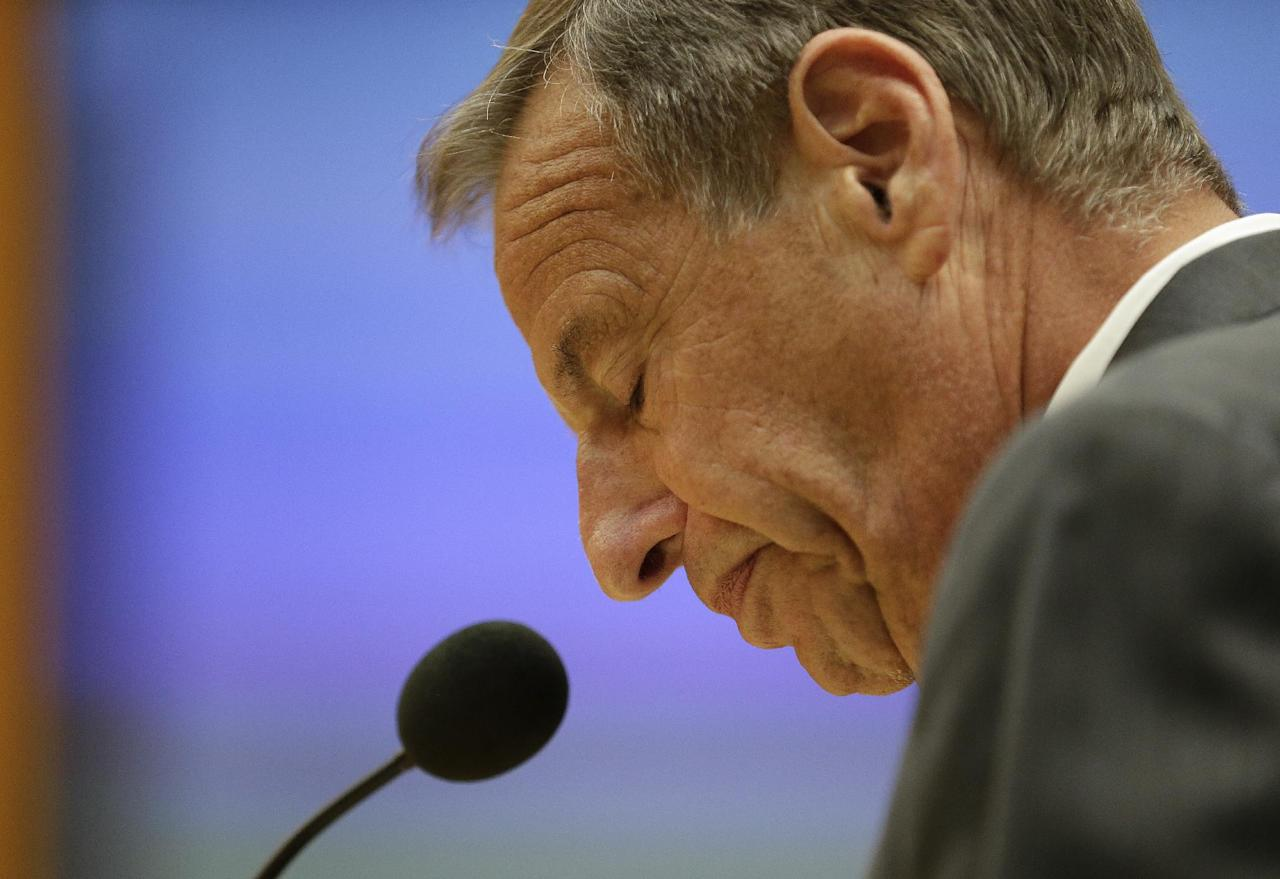 San Diego Mayor Bob Filner speaks after agreeing to resign at a city council meeting Friday, Aug. 23, 2013, in San Diego. Filner agreed to resign on Aug. 30, bowing to enormous pressure after lurid sexual harassment allegations brought by at least 17 women eroded his support after just nine months on the job. (AP Photo/Gregory Bull)
