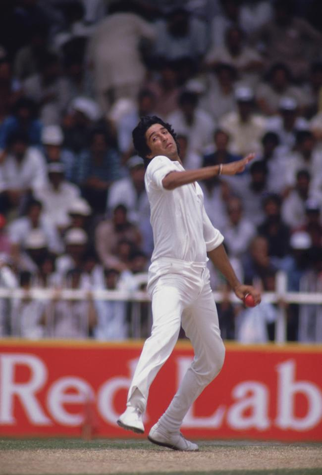 Wasim Akram of Pakistan during a match in the Sharjah Cricket Association Stadium, 1987. (Photo by Chris Cole/Getty Images)