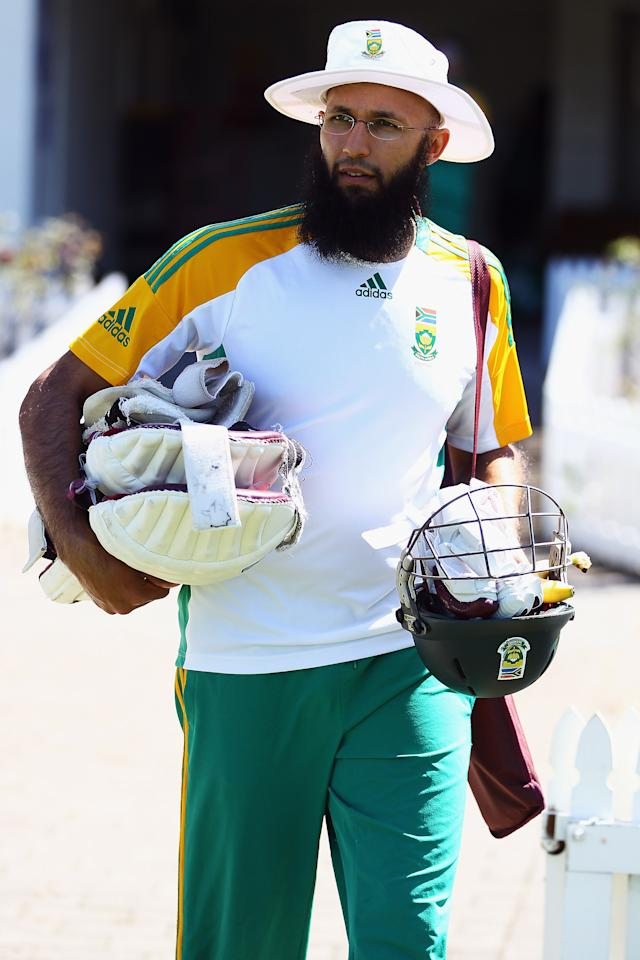 HAMILTON, NEW ZEALAND - MARCH 14: Hashim Amla arrives for a training session at Seddon Park on March 14, 2012 in Hamilton, New Zealand.  (Photo by Hannah Johnston/Getty Images)