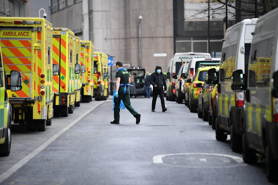 <p>Ambulances at Whitechapel hospital in London during the peak of the second wave of Covid-19</p> (PA Wire)