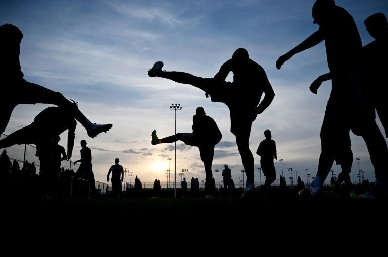 Ready for action: Sheriff players train ahead of their Champions League group stage debut (AFP/Sergei GAPON)