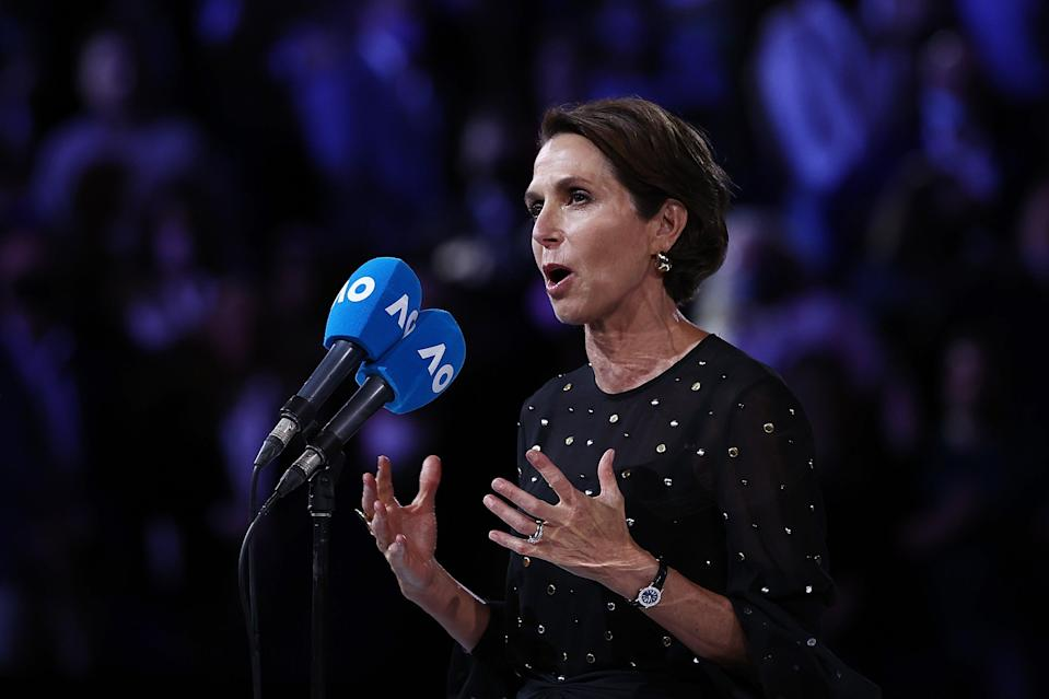 <p>Tennis Australia president Jayne Hrdlicka had to halt her speech after the crowd started booing at the mention of Covid-19 vaccines</p> (Getty Images)