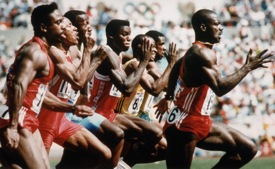 Canadian Ben Johnson breaks from the pack during the 100 meter race