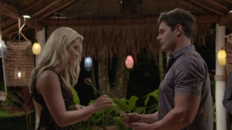 Apollo gave his rose to Simone last night before they left the show together. Source: Ten