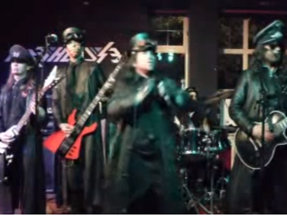 Stuka Squadron on stage in 2014, dressed as their Luftwaffe persona: YouTube / Bootleg B'stards