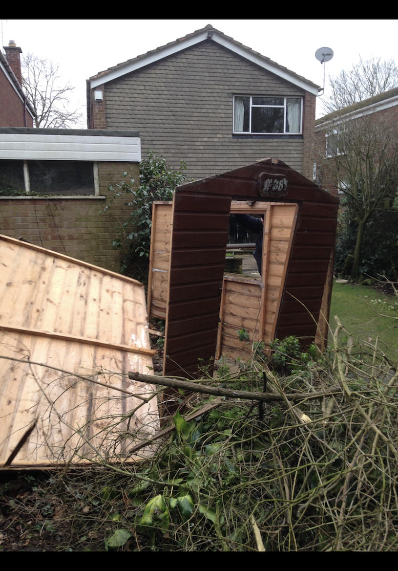 """<p>Sheds might be incredibly practical, but only when they're built properly. Richard Owen explained that a fallen tree branch fell on his shed during a storm, causing quite the catastrophe. </p><p><strong>Like this article? <a href=""""https://hearst.emsecure.net/optiext/cr.aspx?ID=DR9UY9ko5HvLAHeexA2ngSL3t49WvQXSjQZAAXe9gg0Rhtz8pxOWix3TXd_WRbE3fnbQEBkC%2BEWZDx"""" rel=""""nofollow noopener"""" target=""""_blank"""" data-ylk=""""slk:Sign up to our newsletter"""" class=""""link rapid-noclick-resp"""">Sign up to our newsletter</a> to get more articles like this delivered straight to your inbox.</strong></p><p><a class=""""link rapid-noclick-resp"""" href=""""https://hearst.emsecure.net/optiext/cr.aspx?ID=DR9UY9ko5HvLAHeexA2ngSL3t49WvQXSjQZAAXe9gg0Rhtz8pxOWix3TXd_WRbE3fnbQEBkC%2BEWZDx"""" rel=""""nofollow noopener"""" target=""""_blank"""" data-ylk=""""slk:SIGN UP"""">SIGN UP</a></p><p>Love what you're reading? Enjoy <a href=""""https://go.redirectingat.com?id=127X1599956&url=https%3A%2F%2Fwww.hearstmagazines.co.uk%2Fhb%2Fhouse-beautiful-magazine-subscription-website&sref=https%3A%2F%2Fwww.housebeautiful.com%2Fuk%2Fgarden%2Fdesigns%2Fg36629579%2Fgarden-disasters%2F"""" rel=""""nofollow noopener"""" target=""""_blank"""" data-ylk=""""slk:House Beautiful magazine"""" class=""""link rapid-noclick-resp"""">House Beautiful magazine</a> delivered straight to your door every month with Free UK delivery. Buy direct from the publisher for the lowest price and never miss an issue!</p><p><a class=""""link rapid-noclick-resp"""" href=""""https://go.redirectingat.com?id=127X1599956&url=https%3A%2F%2Fwww.hearstmagazines.co.uk%2Fhb%2Fhouse-beautiful-magazine-subscription-website&sref=https%3A%2F%2Fwww.housebeautiful.com%2Fuk%2Fgarden%2Fdesigns%2Fg36629579%2Fgarden-disasters%2F"""" rel=""""nofollow noopener"""" target=""""_blank"""" data-ylk=""""slk:SUBSCRIBE"""">SUBSCRIBE</a> </p>"""