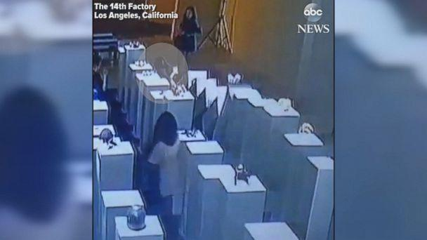 A Woman taking a selfie caused about $200,000 worth of damage at an art exhibition in Los Angeles when she leaned on a plinth, knocking it over and causing a domino-style chain reaction. (the 14th Factory)