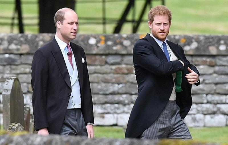 Prince Harry arriving at Pippa Middleton's wedding with brother Prince William. Source: Getty