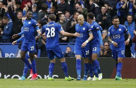 Britain Soccer Football - Leicester City v Stoke City - Premier League - King Power Stadium - 1/4/17 Leicester City's Wilfred Ndidi celebrates with team mates after scoring their first goal   Action Images via Reuters / Andrew Boyers Livepic