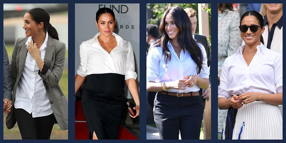 """<p class=""""body-dropcap"""">It might be a stretch, but one could say that a white button-down shirt brought Meghan Markle to Prince Harry. Misha Nonoo, a designer known for her dress shirts and a close friend of Meghan's, is <a href=""""https://www.townandcountrymag.com/society/a13970045/misha-nonoo-meghan-markle-prince-harry-matchmaker/"""" rel=""""nofollow noopener"""" target=""""_blank"""" data-ylk=""""slk:rumored to be the matchmaker"""" class=""""link rapid-noclick-resp"""">rumored to be the matchmaker</a> behind the couple. But whether or not Nonoo orchestrated the royal pairing, the Duchess of Sussex clearly has an affinity for the classic white button-down. She's been known to dress one up with a floor-length skirt or simply pair one with jeans. It's a crucial component of the Duchess's expansive wardrobe. </p><p>It's fair to say that Meghan has become something of a white button-down connoisseur, testing out the top in a range of situations, materials, and styles; however, she is not loyal to one specific button-down designer, and tries out a variety of options from many of her favorite brands. Here, we've compiled some of the Duchess's all-time favorite white button-down shirts, so you can order yourself a royally-approved classic. </p>"""