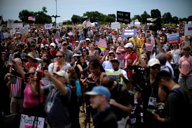 "<p>Protesters gather on the National Mall during the ""March for Truth"" rally demanding an impartial investigation into Russian interference in the 2016 presidential election in Washington, June 3, 2017. (Photo: James Lawler Duggan/Reuters) </p>"