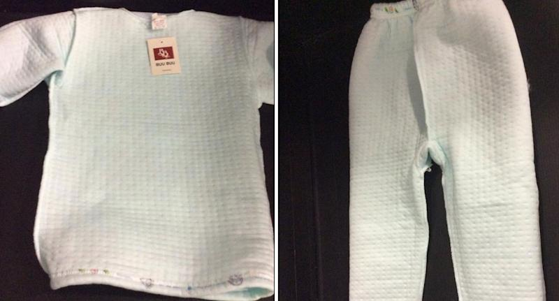 Buu Buu sleepwear shown after it was found not to have the required fire hazard labelling.