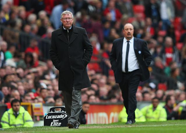 MANCHESTER, ENGLAND - MAY 05: Sir Alex Ferguson, manager of Manchester United looks on with Rafael Benitez, interim manager of Chelsea during the Barclays Premier League match between Manchester United and Chelsea at Old Trafford on May 5, 2013 in Manchester, England. (Photo by Alex Livesey/Getty Images)