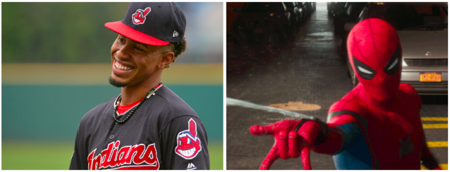 Francisco Lindor is acrobatic at short, just like Spider-Man. (Photos via AP and Marvel)