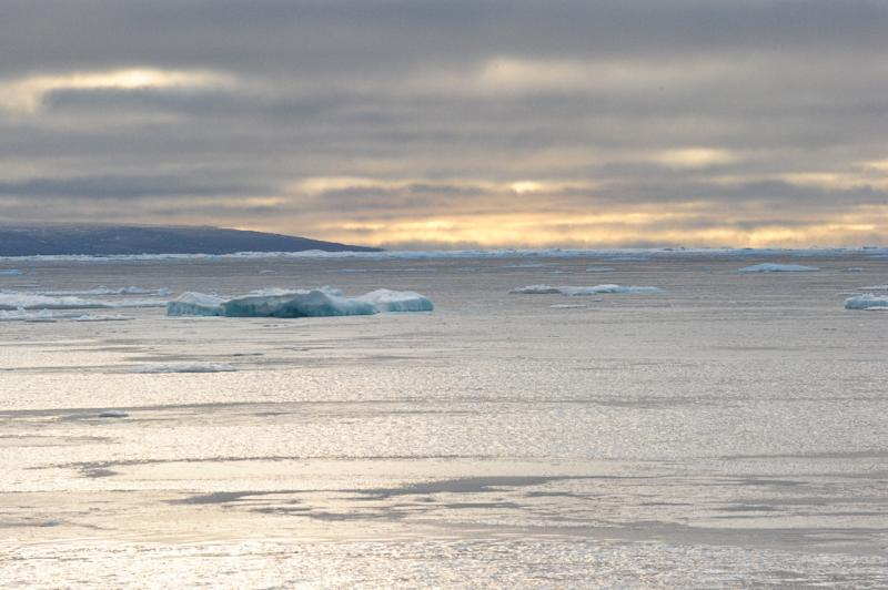 Ice chunks are seen in the Northwest Passage in the Canadian High Arctic on September 23, 2015