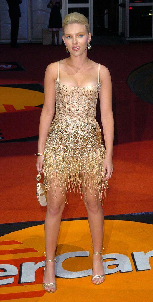 <p>The Oscar-nominated actress graced the BRITs red carpet with her presence back in 2004 wearing a Roberto Cavalli beaded gold mini dress.</p>