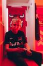 FIFA 21 gamer Anders Vejrgang poses for a photo at the Red Bull Arena in Leipzig
