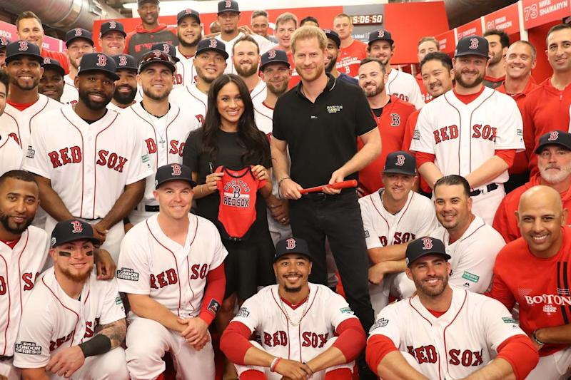Royal fans: Harry and Meghan with the Red Sox at the London Stadium in June: Chris Jackson/Invictus Games Foundation