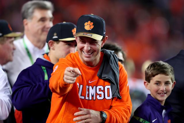 Swinney is 89-28 at Clemson. (Getty)