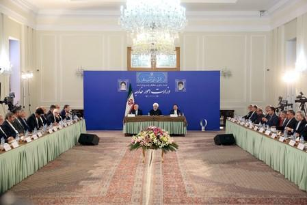 Iranian President Hassan Rouhani speaks during a meeting with Iran's Foreign Minister Mohammad Javad Zarif and with deputies and Senior directors of the Ministry of Foreign Affairs in Tehran