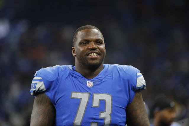 FILE - In this Aug. 19, 2017, file photo, Detroit Lions offensive tackle Greg Robinson (73) is seen during the second half of an NFL preseason football game against the New York Jets, in Detroit. The Cleveland Browns have signed offensive lineman Greg Robinson, a former first-round draft pick with the Rams. The 6-foot-5, 330-pound Robinson was the No. 2 overall pick in the 2014 draft out of Auburn. However, Robinson failed to live up to expectations and was traded to Detroit before last season. Robinson started six games for the Lions before suffering a season-ending ankle injury. Hes getting another chance with the Browns, who are looking to replace 10-time Pro Bowl tackle Joe Thomas and need to add depth up front. (AP Photo/Paul Sancya, File)