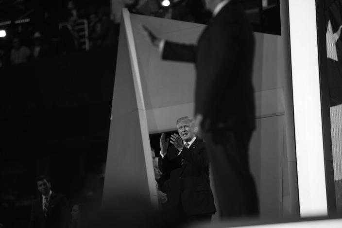 <p>Donald Trump applauds his running mate, Gov. Mike Pence. (Photo: Khue Bui for Yahoo News)</p>
